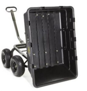 Gorilla Carts Extra Heavy-Duty Poly Dump Carts with 2-in-1 Convertible Handle with Capacity of 1500 pounds