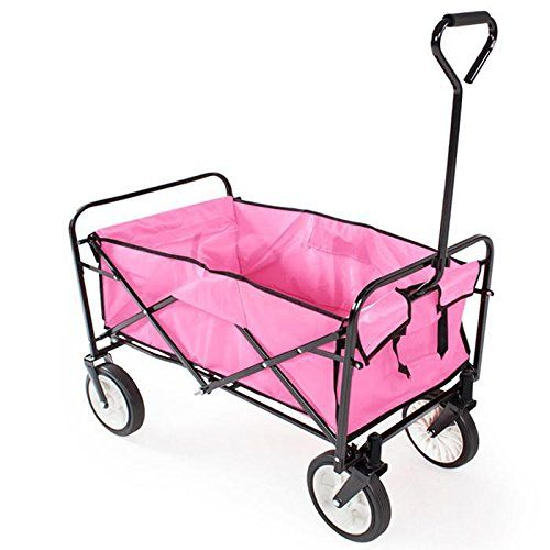 yaheetech-pink-folding-wagon-pink wheelbarrow
